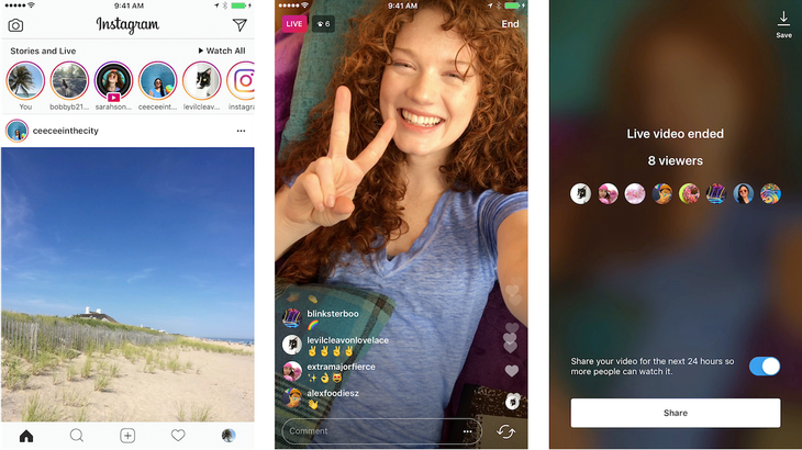 Instagram Live will be displayed before stories