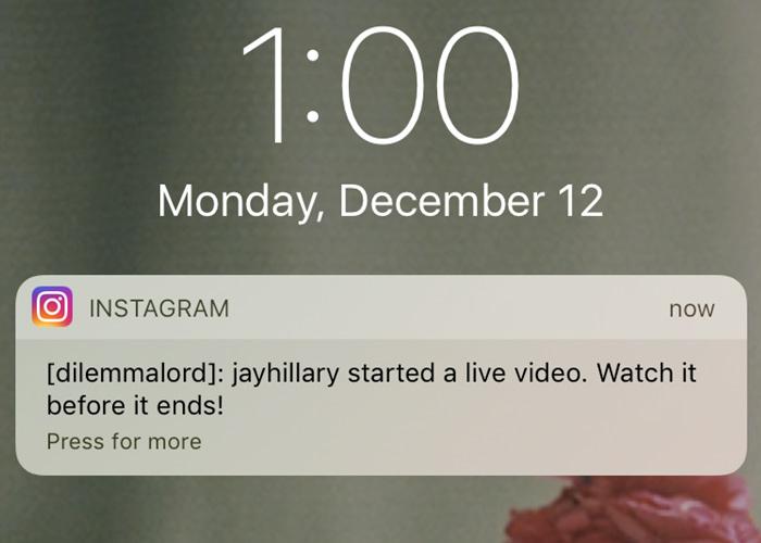 nstagram will send a push notification