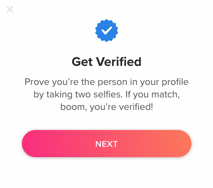 What does a verified blue checkmark mean on Tinder?